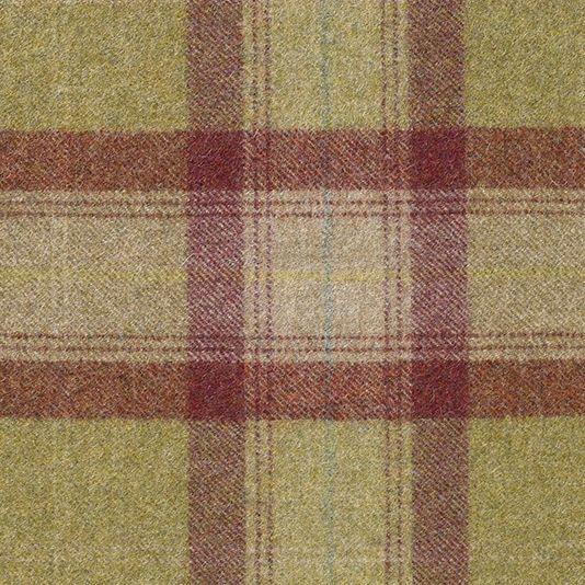 Skye Tartan Fabric A contemporary tartan in lime green, raspberry and light beige