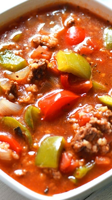 Slow Cooker Stuffed Pepper Soup Recipe ~ If you love stuffed peppers, you need to try this soup! Use meat substitute