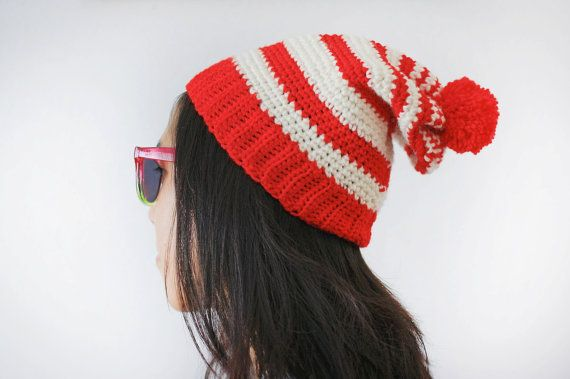 waldo hat to crochet | Where's Waldo Hat Crochet Red and White by ColorMeFantastic