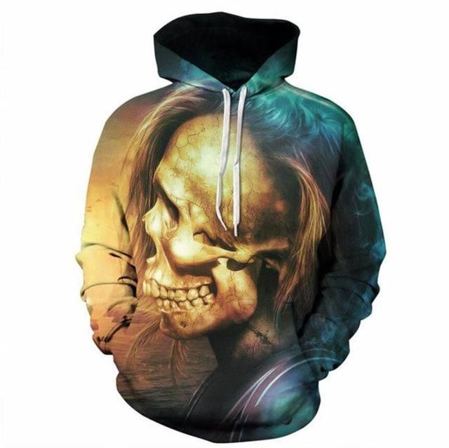 fecdb95b38e1 Cloudstyle 3D Hoodie Print Skull Men Women 3D Sweatshirts Yellow Blue  Pullovers Hipster Hip Hop Hooded Unisex Short Streetwear