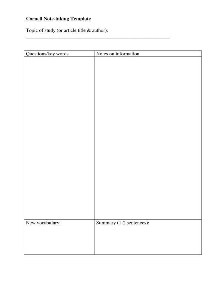 Note Taking Templates | Cornell Note taking Template