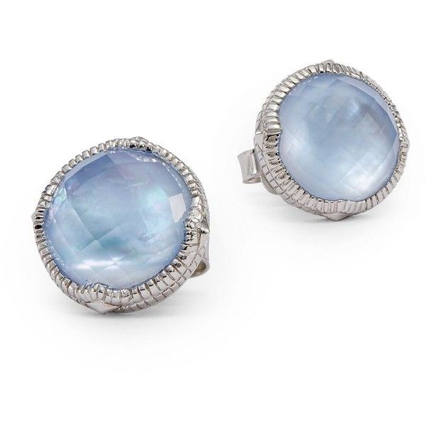 Judith Ripka Faceted Sterling Silver Button Earrings ($260) ❤ liked on Polyvore featuring jewelry, earrings, light blue, post back earrings, facet jewelry, imitation jewelry, fake jewelry and light blue earrings