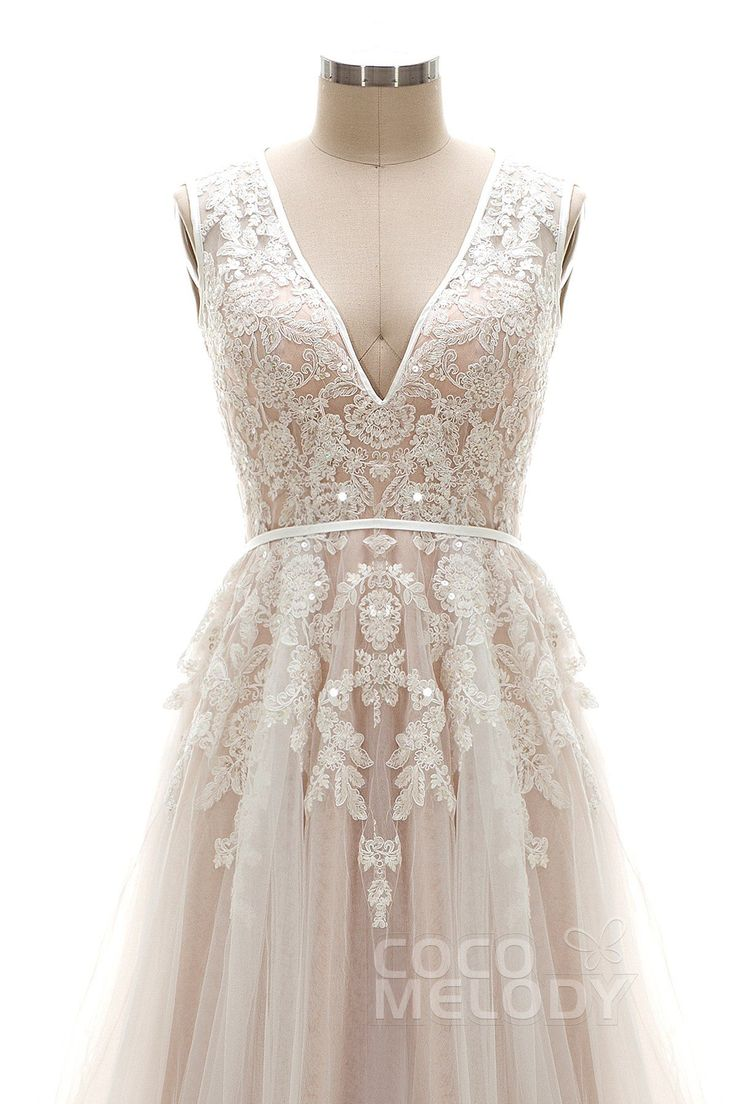 Latest A-Line V-Neck Natural Chapel Train Tulle Ivory/Champagne Sleeveless Open Back Wedding Dress Appliques LD3932