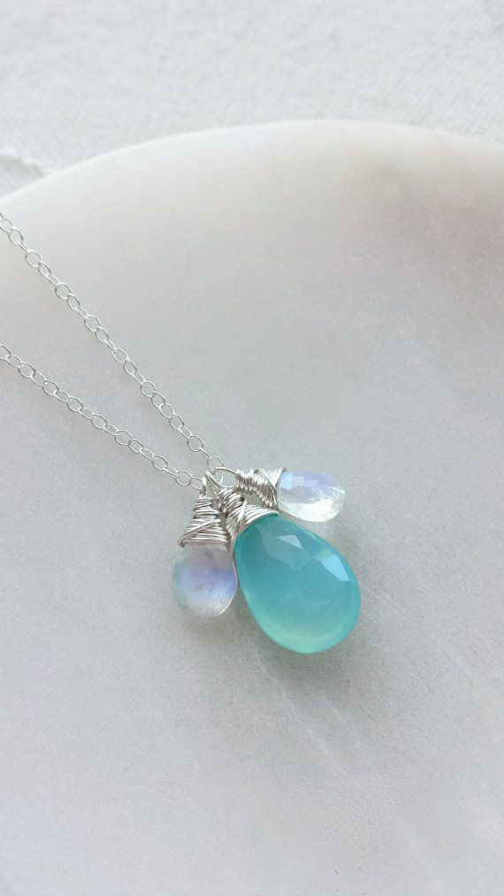 Aqua Chalcedony Necklace Rainbow Moonstone Necklace Sterling