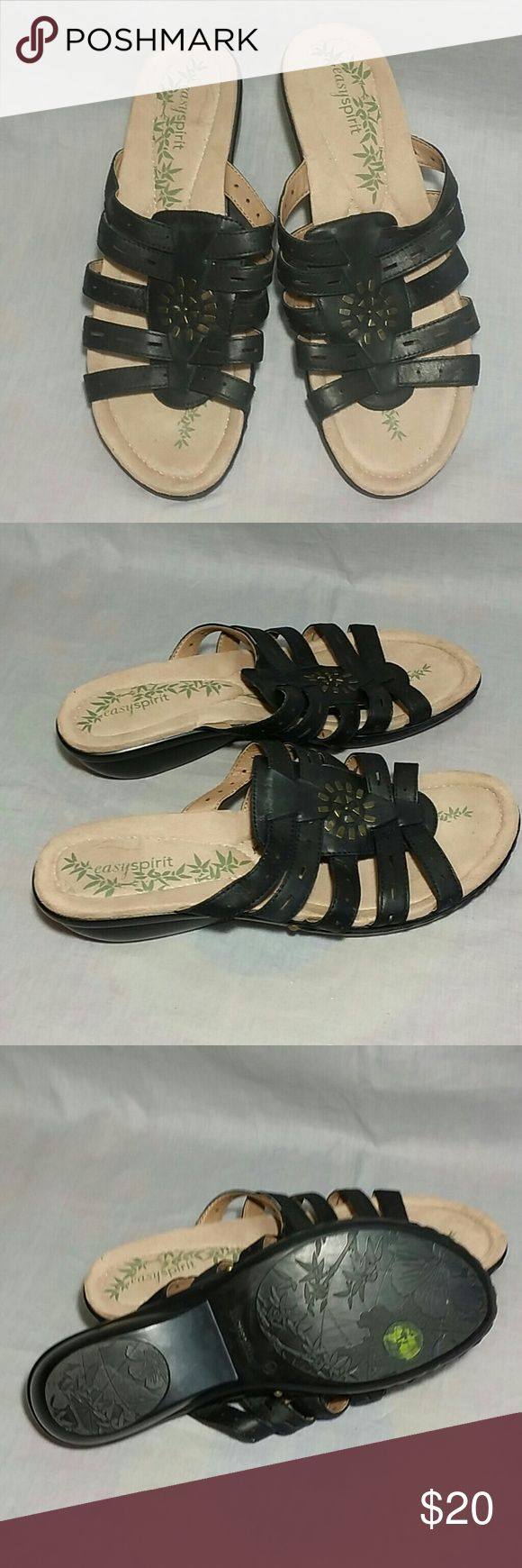 EASY SPIRIT Sandals Black Size 8.5 M Leather Item is in a good condition, NO PETS AND SMOKE FREE HOME. Easy Spirit Shoes Sandals