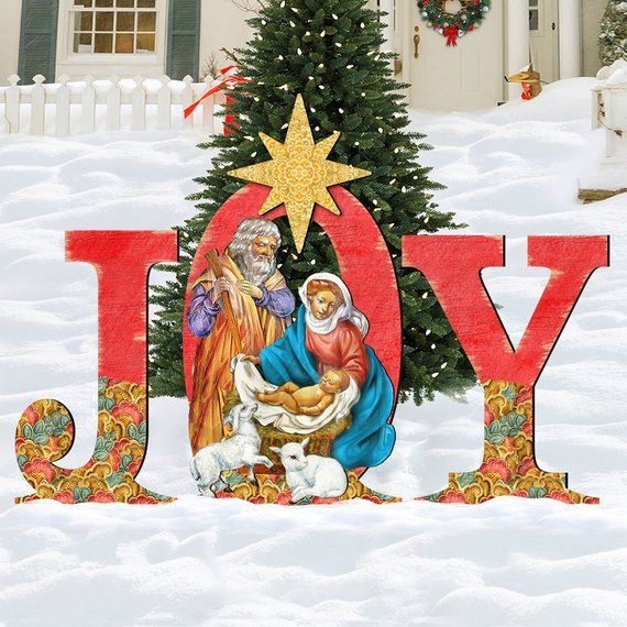 Rustic Holiday Decor Outdoor Nativity Set - NATIVITY JOY Wooden Free
