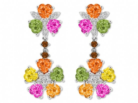 Multi Color & Cut Sapphires Earrings - Nazar's Fine Jewelry