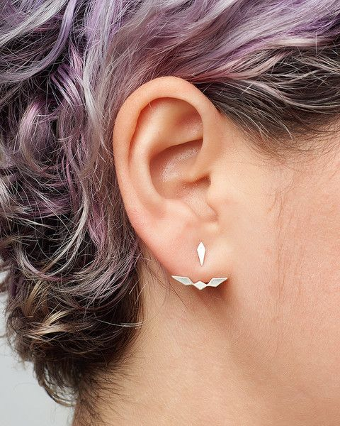 These are our fav new delicate armor.  This Inez style ear-jacket gently cradles the slope of your earlobe. The look is fierce, delicate and refined. Studs can also be worn separately.
