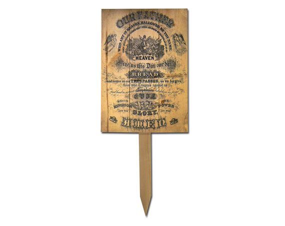 """11x15 Solid Wood Yard Art """"Lord's Prayer"""". All Weather Safe. Total Height with stake aprox. 28"""".(YMLP)"""