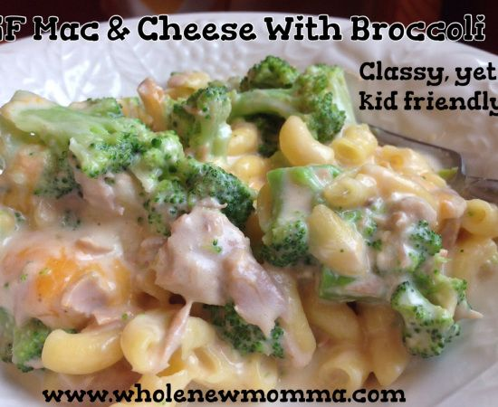 GF mac & cheese with broccoli. Classy, yet kid friendly.