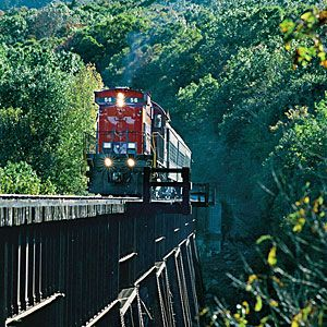 """""""Southern Living"""" cites a ride along the Arkansas & Missouri Railroad as a must-see in their guide for planning an """"Arkansas Ozarks Fall Weekend."""" #AETN #BeMore #SouthernLiving"""