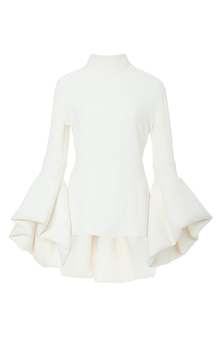 Crepe Bell Sleeve Peplum Top by BRANDON MAXWELL for Preorder on Moda Operandi