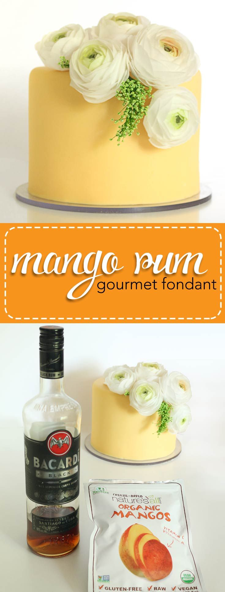 Gourmet Mango Rum Fondant. All natural flavors, light and tropical. Just perfect for a summer celebration cake! via @karascakes