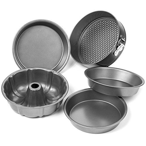 Elite Bakeware 5 Piece Nonstick Cake Pans Set with 9 Inch Round Cake Pans, 9 Inch Spring form Cake Pan and 10 In Bundt Cake Pan  Intelligent 5 Piece Nonstick Cake Pans Set comes with three 9 inch traditional round cake pans, one 9 inch springform pan, and one 10 inch bundt cake pan. Intelligently designed complete cake bakeware set comes with everything you need to bake all cakes from A to Z. Commercial grade proprietary non-stick coating for easy release of even the stickiest of cakes...