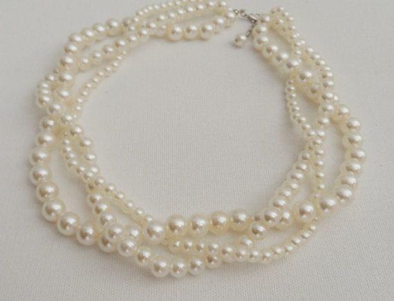 White Pearl Necklace-Wedding by AccessoriesInLove on Etsy