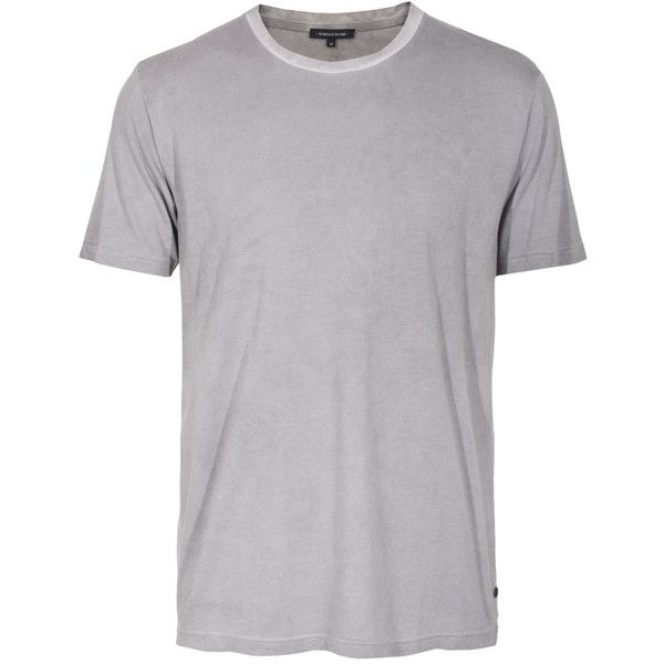 Surface To Air Washed Grey Cotton t-shirt ($52) ❤ liked on Polyvore featuring men's fashion, men's clothing, men's shirts, men's t-shirts, mens long sleeve shirts, mens straight hem shirts, mens gray dress shirt, mens grey t shirt and mens longsleeve shirts