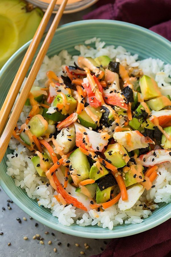 If you love California Rolls, you're going to love this sushi bowl recipe. Sushi can be intimidating, but sushi bowls are easy. California Roll Sushi Bowls are the way to go!