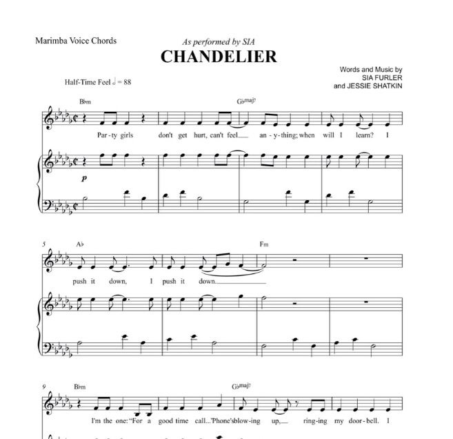 The begging of Chandelier. This can be played on all mallet ...