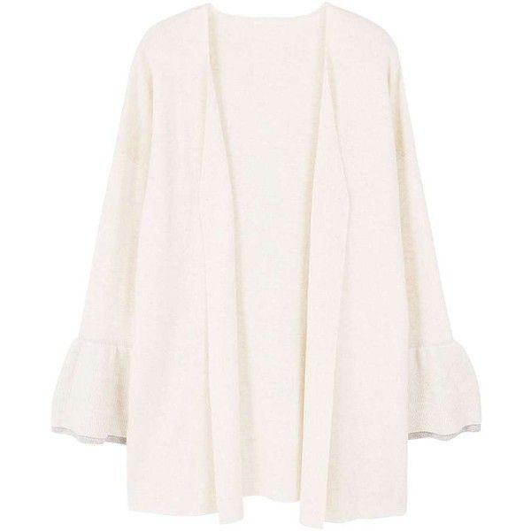 MANGO Flared sleeve cardigan ($60) ❤ liked on Polyvore featuring tops, cardigans, mango cardigan, cardigan top, white bell sleeve top, white top and mango tops