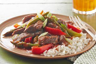 Beef and asparagus stir fry