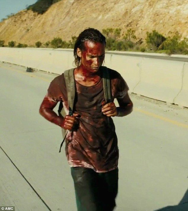 Camouflage: In the midseason trailer for AMC's Fear the Walking Dead, teenage heroin addict Nick Clark (played by Frank Dillane) can be seen walking towards Tijuana while coated in fake blood to ward off zombies