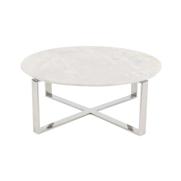 Beautiful Round White Marble Coffee Table With A Glossy Finish