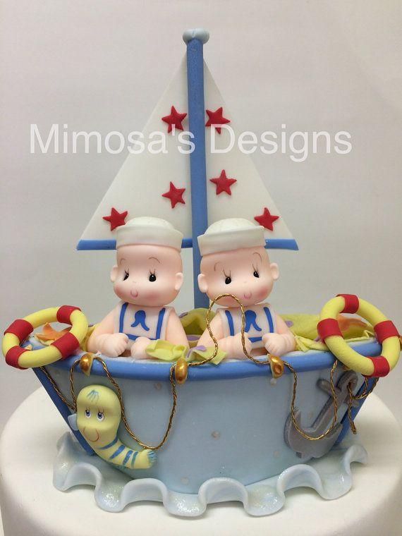 Twins cake topper. sailor birthday. Nautical by MimosasDesigns, $39.95