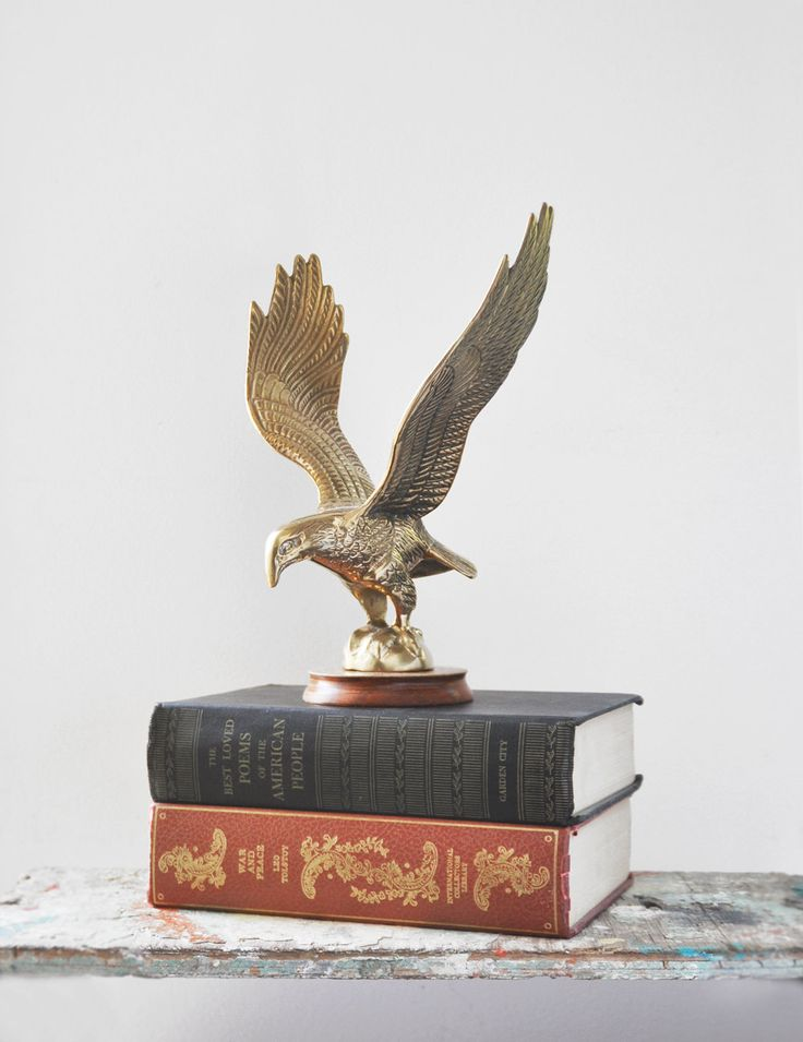 "Vintage Brass Eagle Figurine - 9.5"" flying bird statuette with outspread wings on round wooden base - office man cave home decor by CuriosityCabinet on Etsy"