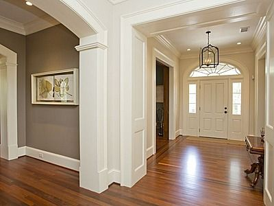 foyer grey paint white trim wood floor ljkoike