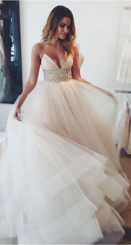 A-line wedding dresses,wedding dresses with beading ,v-neck wedding dresses,wedding dresses 2016,tulle wedding dresses