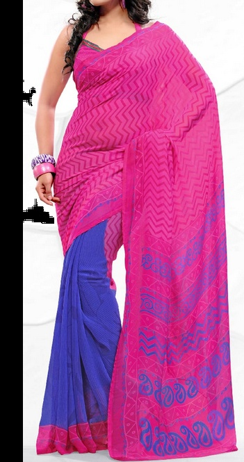 Deep Pink and Blue Faux Georgette Saree