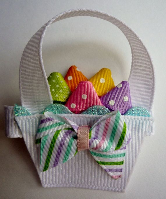 Easter Basket Hairclip Ribbon Sculpture by TakeABowHandcrafts, $7.00