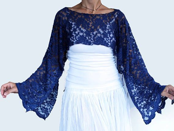 Navy Lace Tunic Dress Cover up Dark Midnight Blue Bridal
