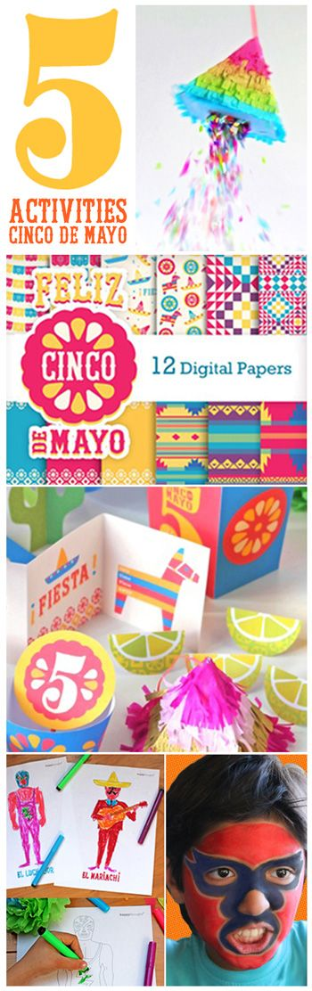 Five great activities for Cinco de Mayo. Scrapbooking, face painting, worksheets, mini pinata tutorial and Cinco de Mayo party printables.