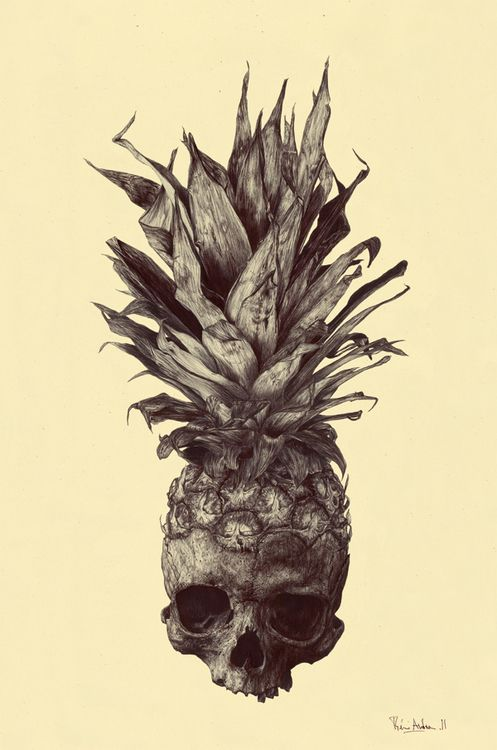 """CRANANAS.  Rémi Andron from France was asked by a friend to reinterpret a tattoo. The name """"CRANANAS"""" is a mixture between the two French words: """"crâne"""" for skull and """"ananas"""" for pineapple. It's drawn with a black ball pen on pale yellow paper."""