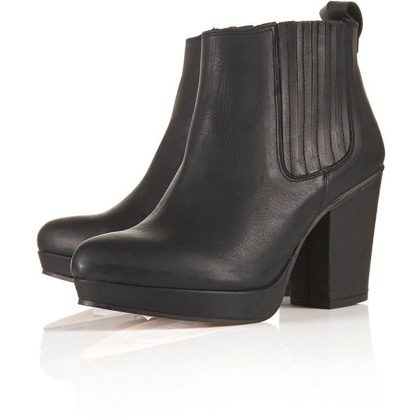 TOPSHOP ALEXY Platform Chelsea Boots (£20) ❤ liked on Polyvore featuring shoes, boots, ankle booties, topshop, heels, black, heeled chelsea boots, platform ankle booties, platform chelsea boots and heel boots