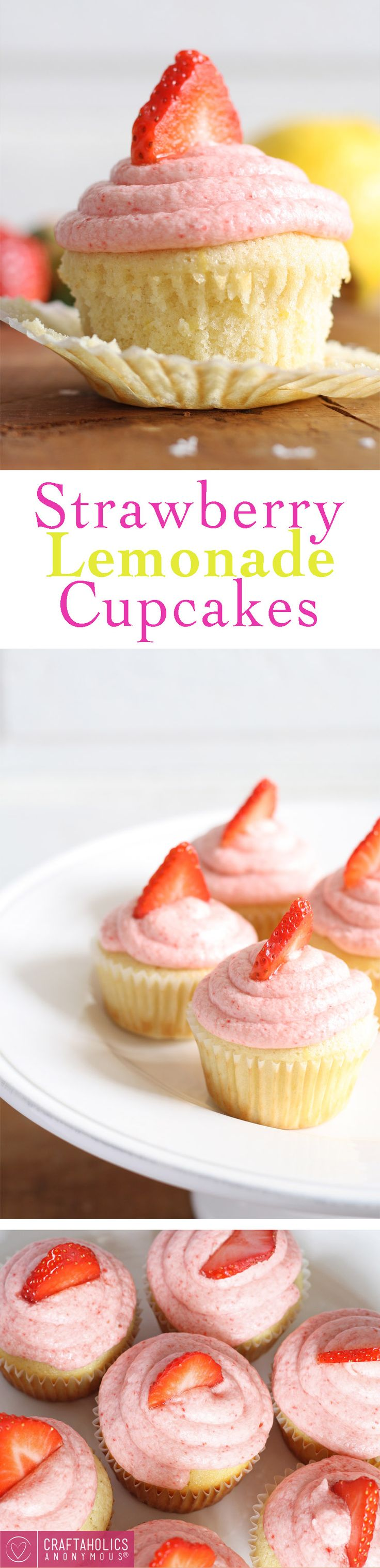 The most Delicious Strawberry Lemonade Cupcakes ever! Tangy and sweet, they your tongue all the way down. One of my all time favorite cupcakes.