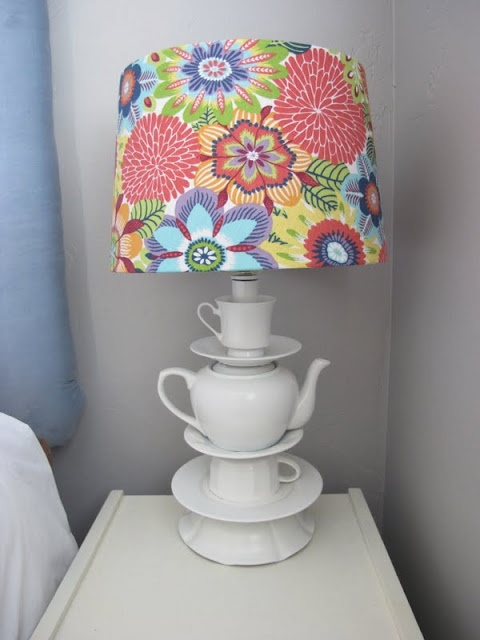 Great tutorial on how to make this lamp as well as covering the lampshade.