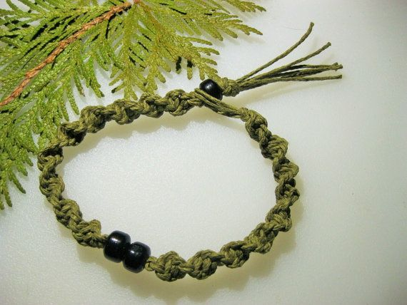 Mens Sage Hemp Bracelet/Ankle Bracelet  by EclecticCraftVenue