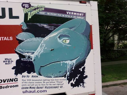 """U-Haul depicting """"Champy"""" from Vermont's Lake Champlain"""