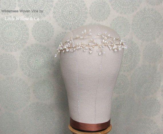 WILDERNESS Woven Bridal Hair Vine, Wedding Headdress, Wedding Halo, Pearls &…