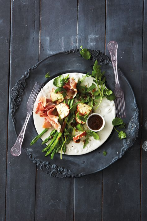 Light and delish! Asparagus and Parma ham salad with fig vinaigrette