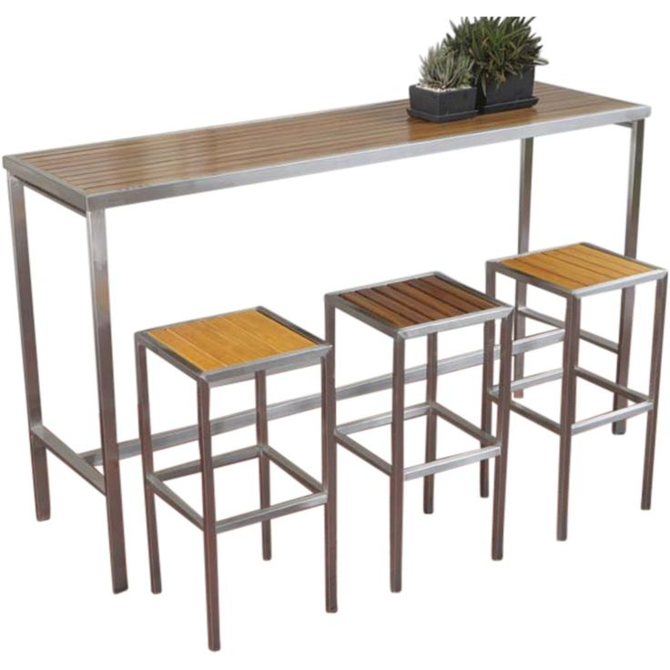 Hayman Outdoor High Bar Table Stainless Steel And Teak