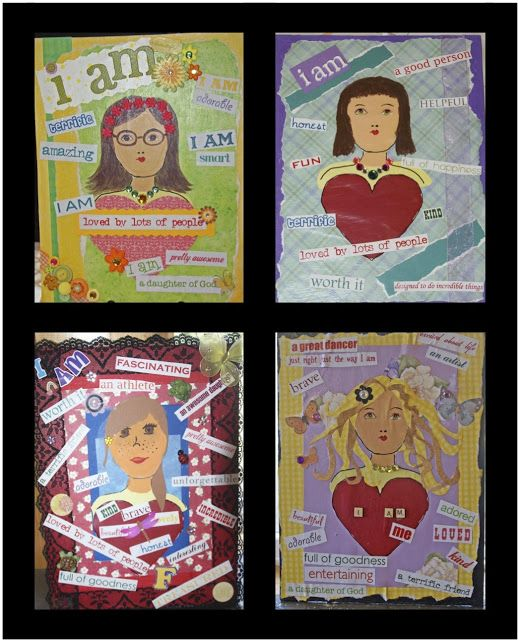 Girl's Camp Crafts 2013 Good for Amaze! Journey?  Reflection boards: scrapbook paper, self portraits and affirmations.