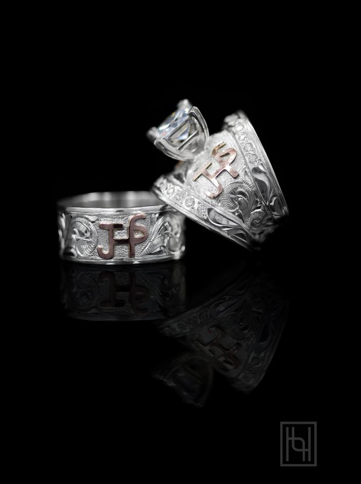 """RomanceForever Ring Set Say """"I love you"""" with this stunning his and her Romance Forever Ring Set by Hyo Silver. Start your custom order today!"""