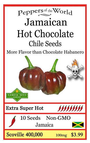 Super Hot Pepper Seeds to try: Jamaican Hot Chocolate Chile seeds, these are a beautiful color and have lots of heat and flavor!