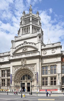 Victoria and Albert Museum in London, England. World's largest museum of decorative arts and design, housing a permanent collection of over 4.5 million objects.
