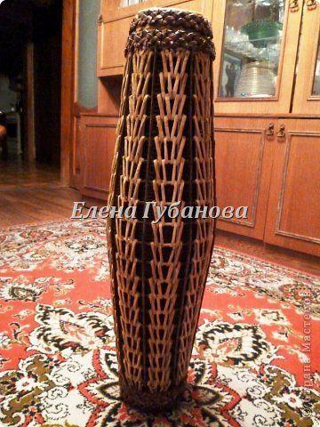 Поделка изделие Плетение Плетеные вазы Трубочки бумажные фото 21