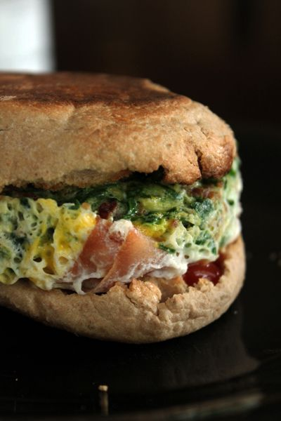 Egg MugMuffin with Spinach, Ham and Bacon for 6 WW points from Green ...