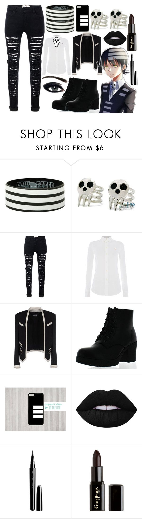 """""""Soul Eater // Death the Kid"""" by stormtrooper2003 ❤ liked on Polyvore featuring Polo Ralph Lauren, Balmain, Refresh, Lime Crime, Marc Jacobs and Gorgeous Cosmetics"""